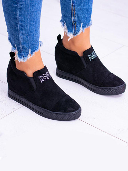 e4ac68b180b1b8 Letter Slip On Faux Suede Wedge Heel Sneakers – WhatsMode