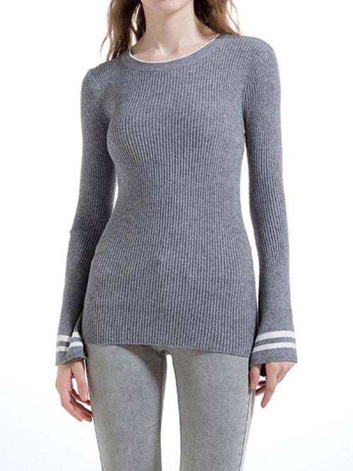 Slim-fit Resile Trumpet Sleeved Knit Sweater Top