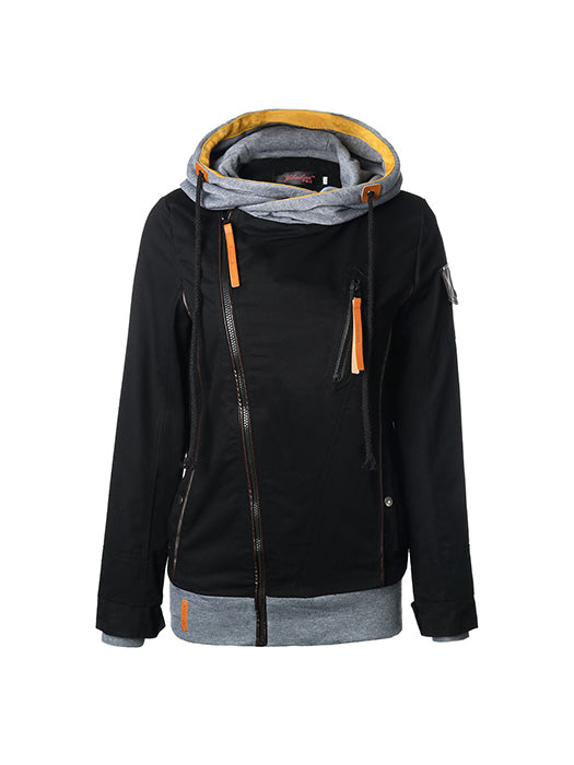 Casual Solid Color Zipper Design Drawstring Hooded Jacket