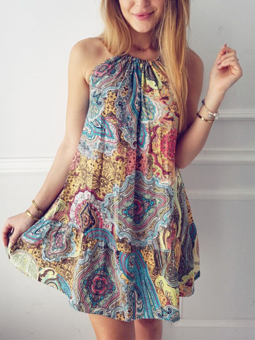 Bohemia Halter Neck Printed Mini Dress
