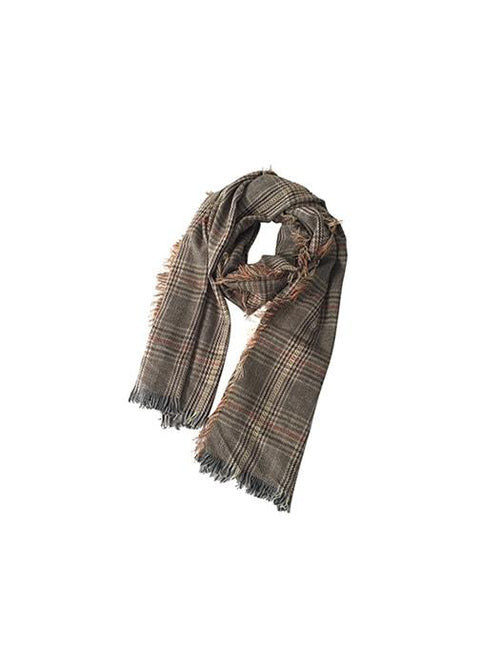 Fringed Oversize Check Blanket Scarf In Brown