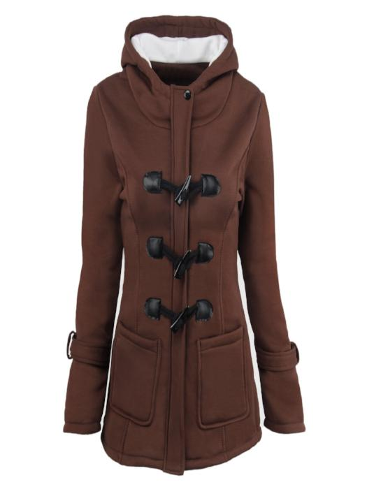 Hooded Horn Leather Buckle Cotton Coat