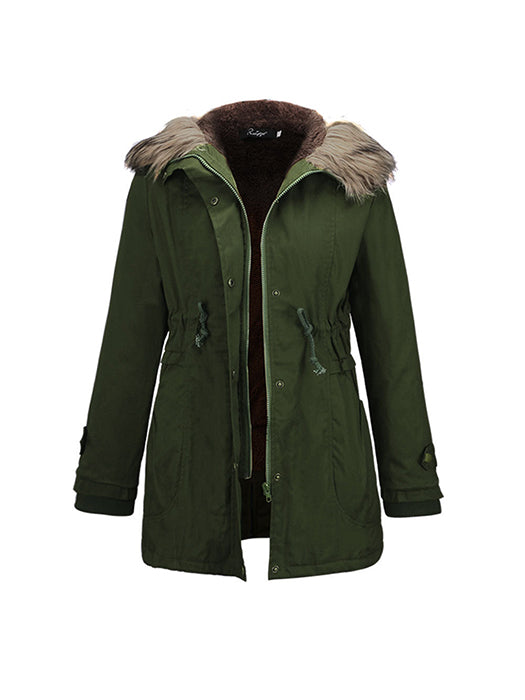 Casual Parka Coat with Faux Fur Trim Hood