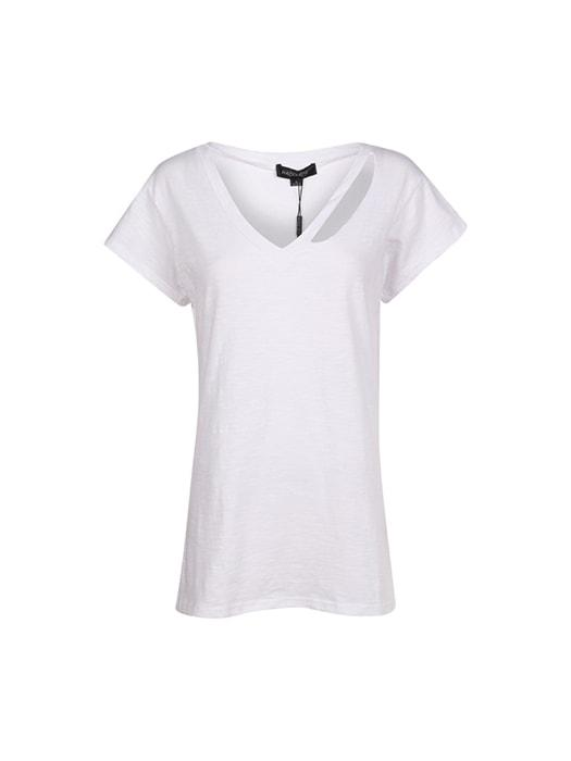 One Shoulder With Hollow Out Solid T-shirt
