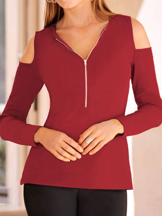 Solid Zipper Cold Shoulder Blouse