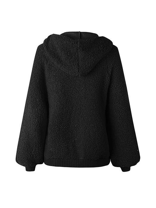 Zip Up Fluffy Warm Hooded Coat
