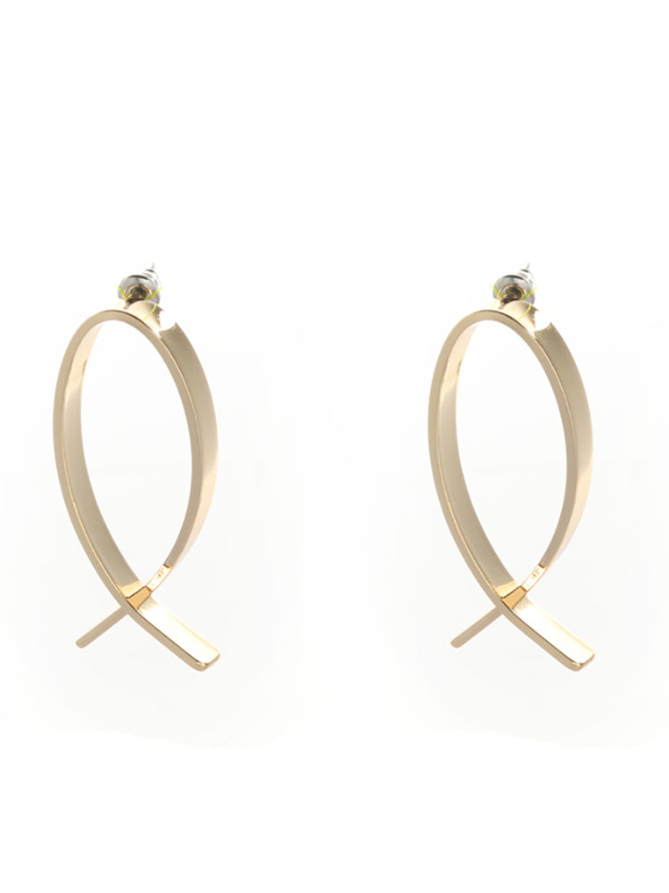 Gold Abstract Geo Shape Earrings