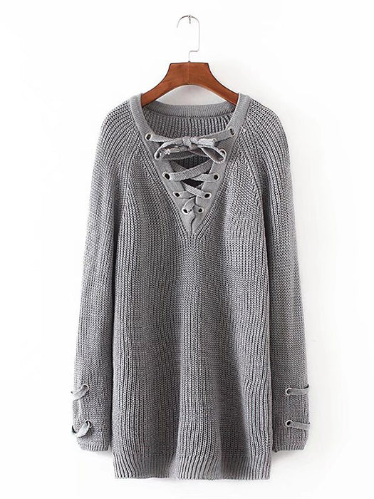 Lace Up Front V Neck Long Sleeve Knit Sweater