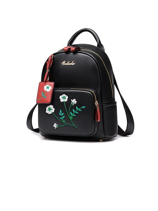 Floral Embroidered Backpack With Floral Pendent