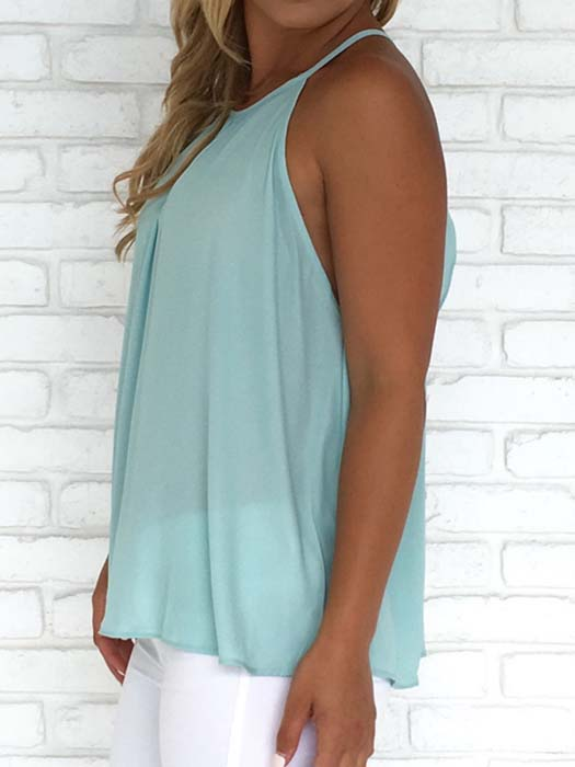 Chiffon Vest With Ruffle And Buttons