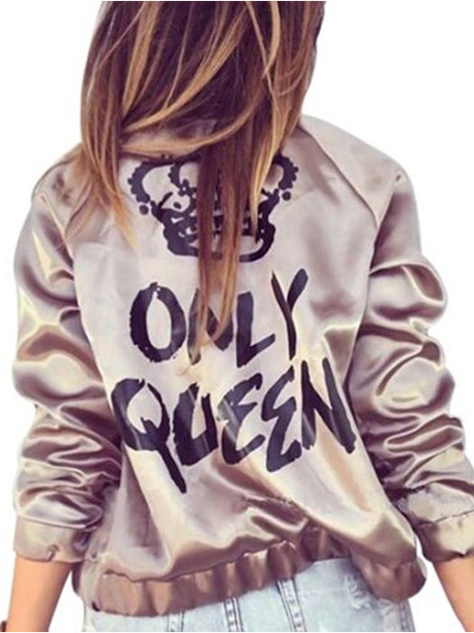 Only Queen Crown Letter Print Bomber Jacket