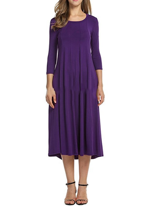 Crew Neck 3/4 Sleeve A-Line Long Dress