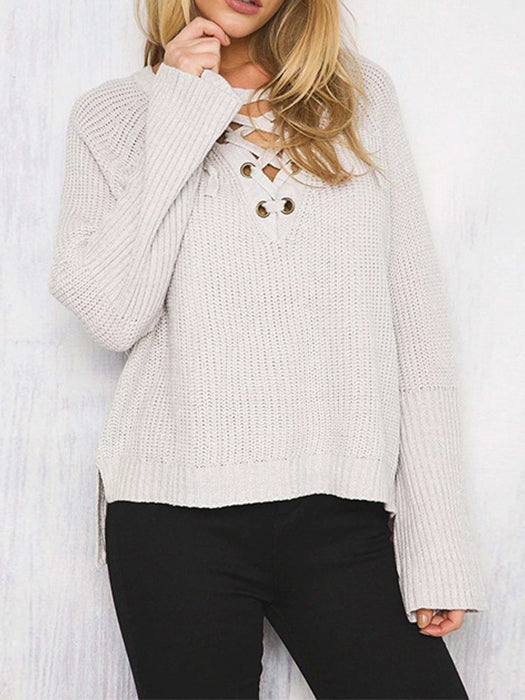V-neck Straps Pure Color Long Loose Sleeves Short Sweater