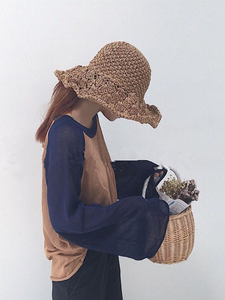 Vacay Floppy Straw Knit Hat
