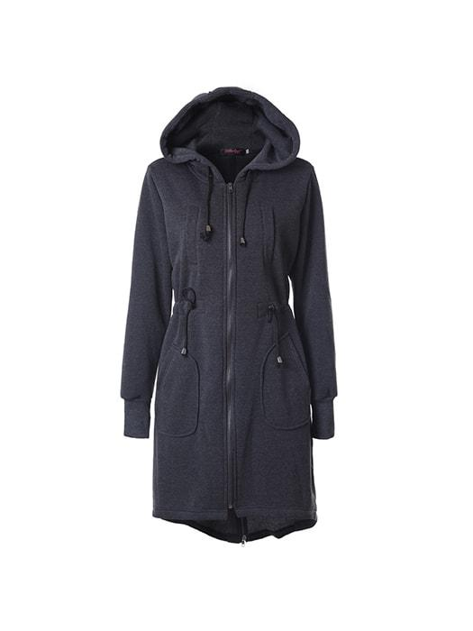 Corset Zipper Hooded Long Wind Coat
