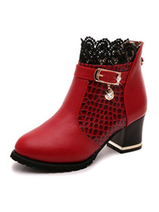 Lace Hollow Out Diamond Buckle Thick Heels Ankle Boots
