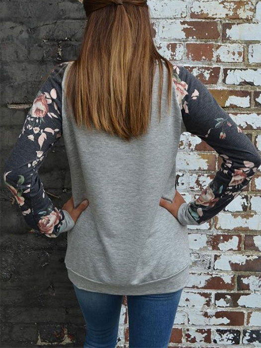 Long Sleeve Flower Print Comfortable Pullover Shirt