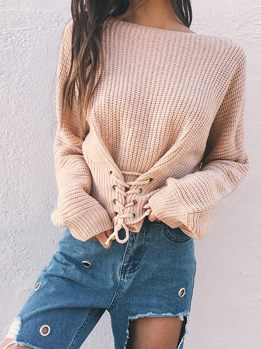 Ribbed Sweater with Grommets and Laces