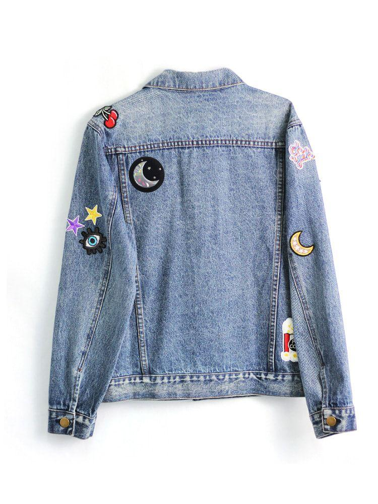 Denim 'Boyfriend Style'Jacket with Patches