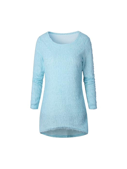 Solid Color Round-collar Pullover Top