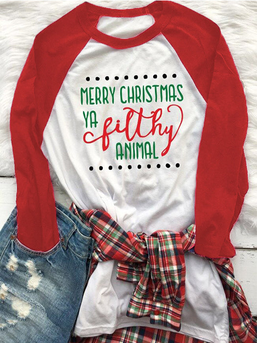 Round Neck Letter Printed Christmas Element T-shirt
