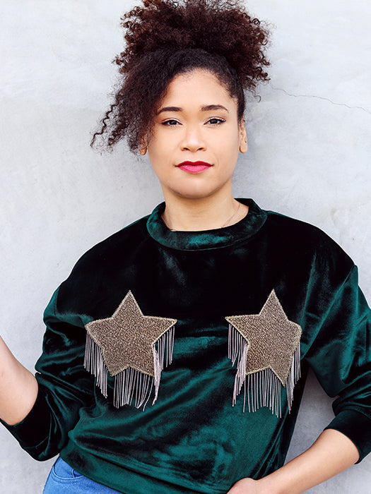 Fringed Star Drop Shoulder Sweatshirt In Velvet