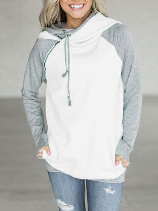 Fashion Patchwork Double Hood Hoodie