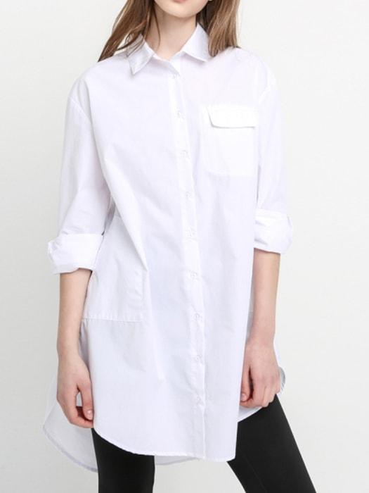 High Low Hem Spliced Shirt Dress