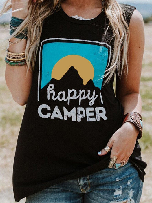 Mountian Sunset Happy Camper Sleeveless Top