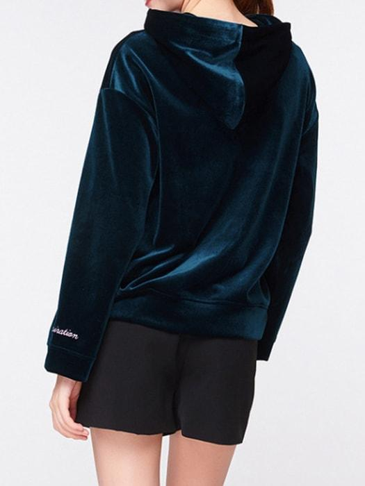 Cheers Embroidery Turkois Velvet Hoodie