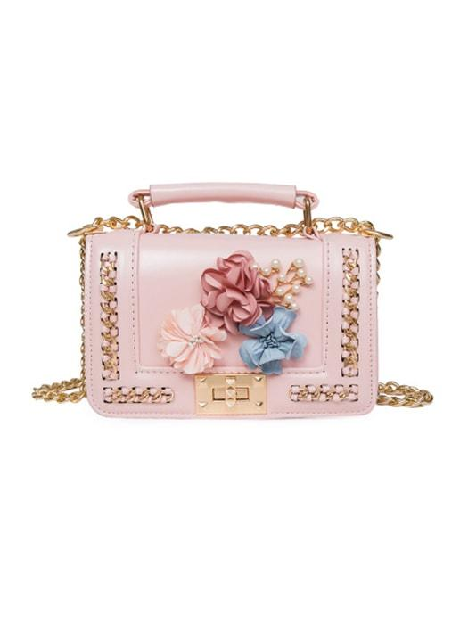 3D Flower Decorated Cross Body Bags With Embedded Chain Detail