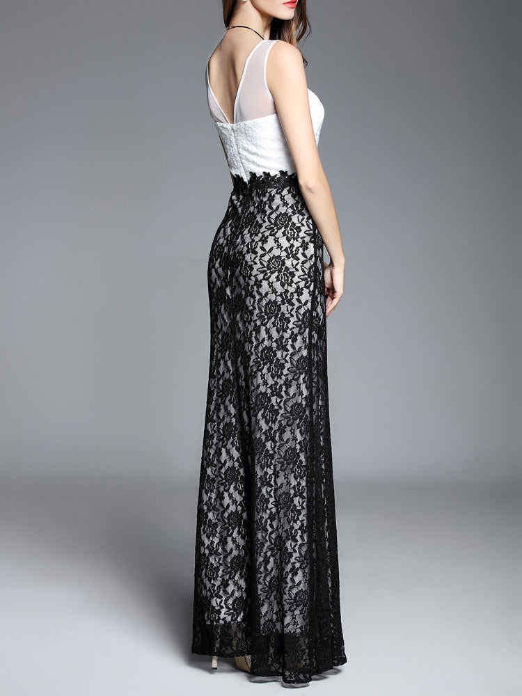 Trumpet V Neck Floor Length Lace  Formal Evening Dress