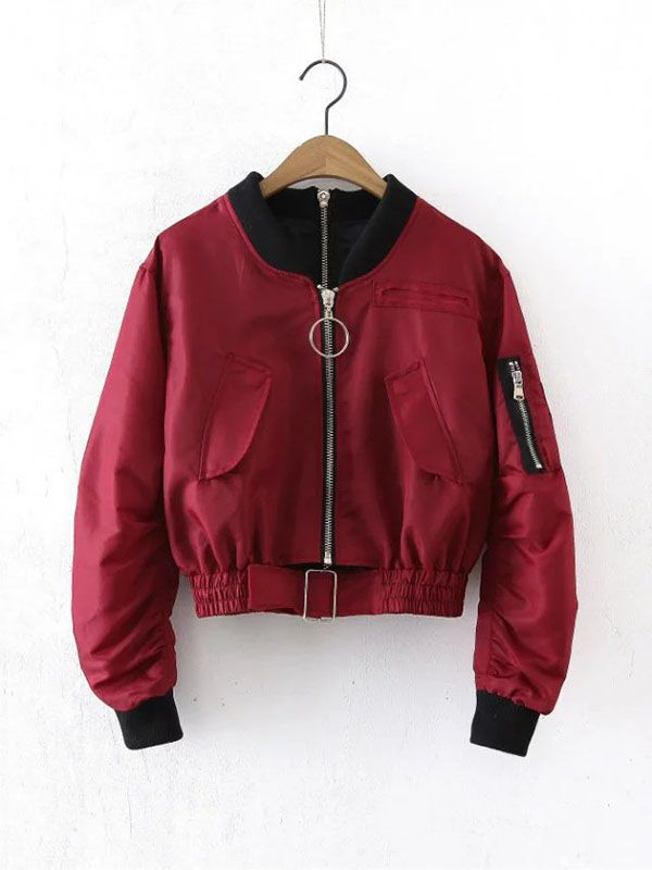Hoop Zipper Detailed Bomber Jacket