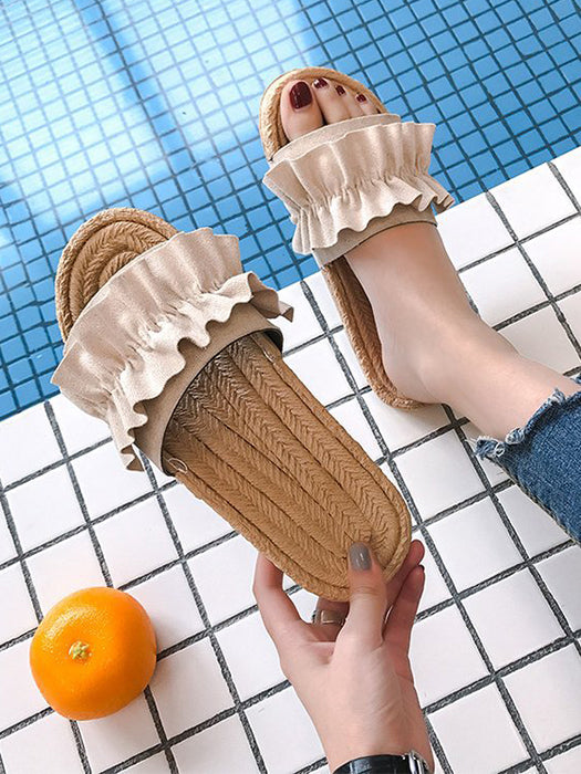 Summer Ruffle Flat Slippers Sandals