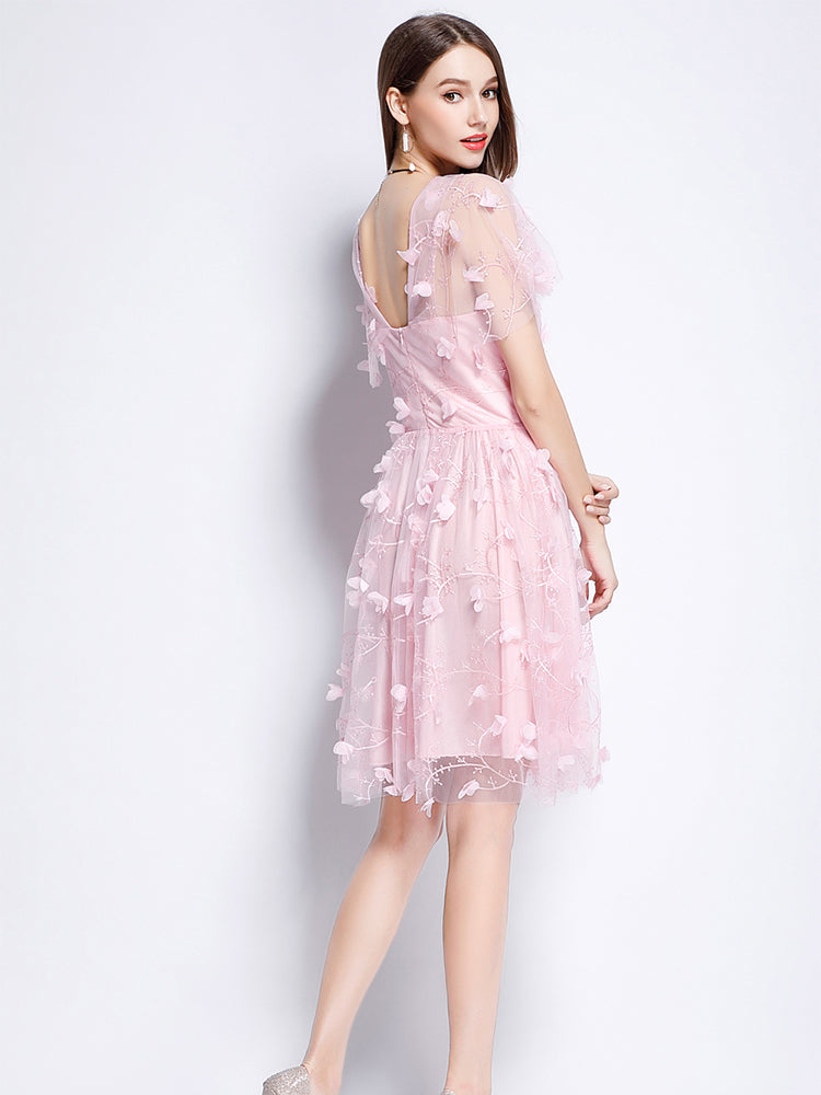 V neck   Grenadine  Short sleeve  Formal Evening Dress