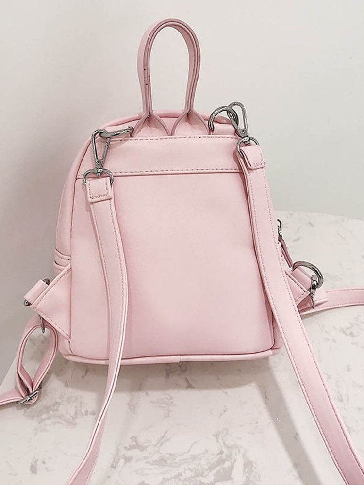 Causal Solid Fuax Leather Backpack