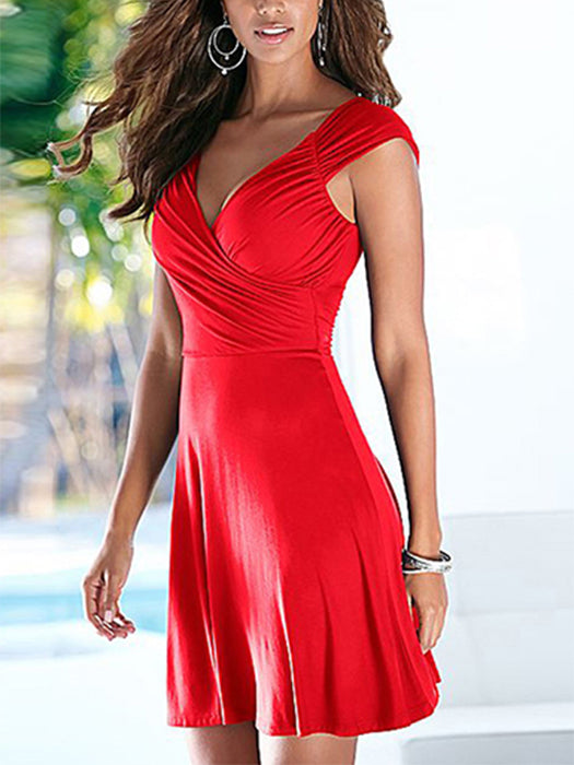 93854bf8b46981 Solid Wrapped Design Mini Dress – WhatsMode