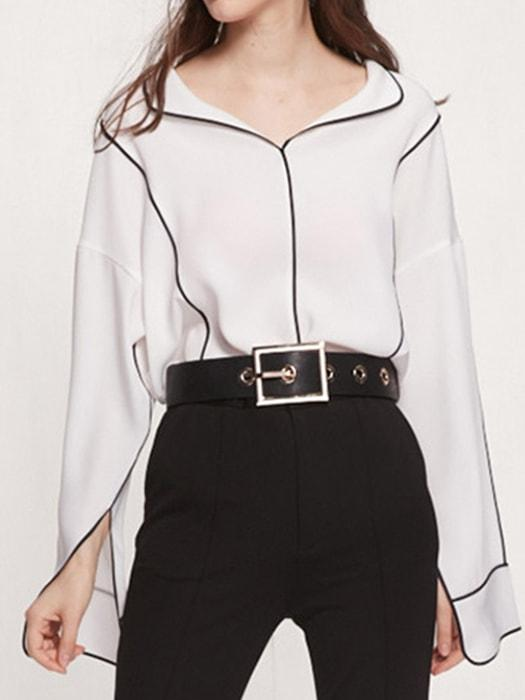 Sweet Flared Side Split Turnover Collar Top