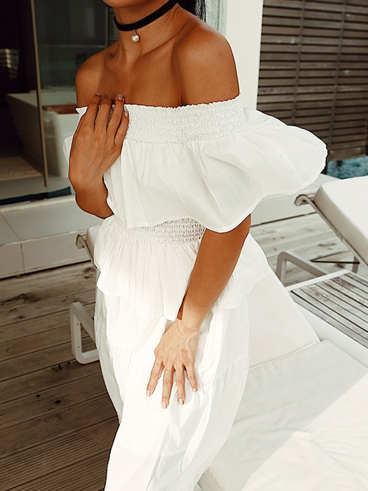 Waisted One Shoulder Ruffled Sun Dress