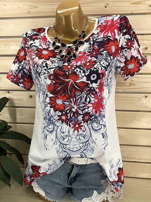 Short Sleeve Round Neck Printed Blouse Tops