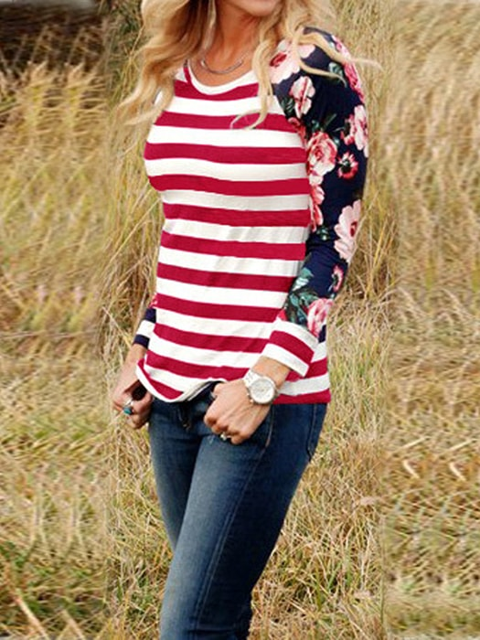 Floral Sleeve Crew Neck Ombre Stripe Shirt