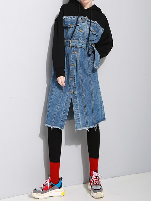 Long Sleeve Hooded Sweater Dress With Washed Blue Spliced