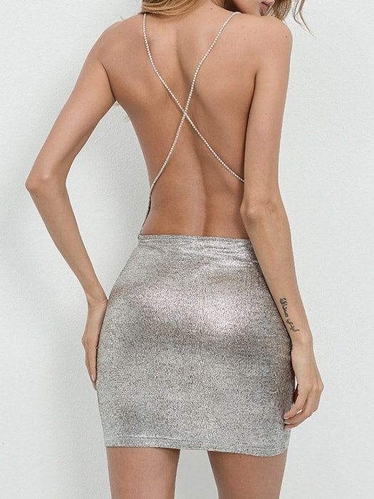Backless Slip Bodycon With Cross-over Back Detail