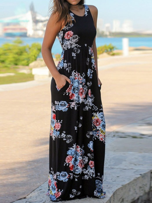 b8839974673 Round Neck Floral Print Maxi Dress – WhatsMode