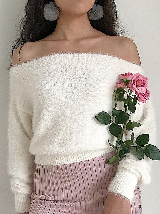 Fuzzy Knit Off-the-Shoulder Crop Sweater