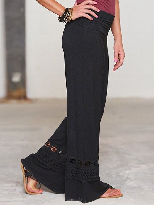 High Rise Wide Leg Pants With Lace - S / Black 30990NC-Black-S