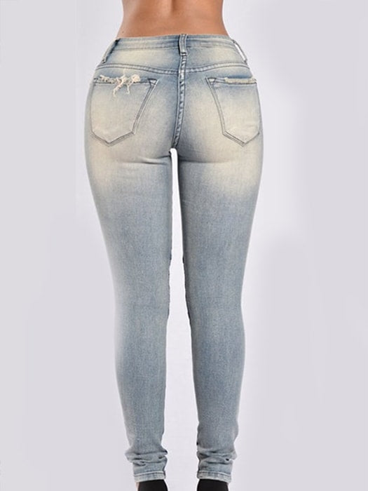 Boyfriend Stretchy Skinny Ripped Distressed Jeans