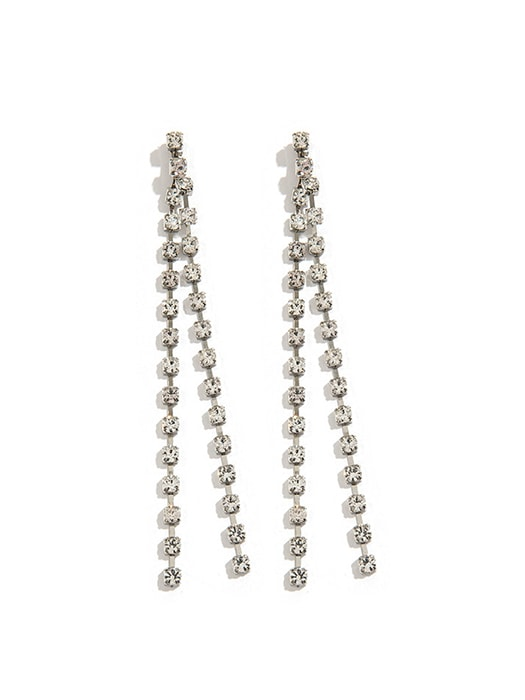 Chain Artificial Diamond Dangling Earrings