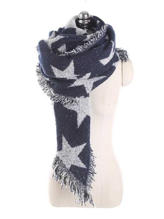 Star Printed Distressed Hem Cashmere Imitation Scarf