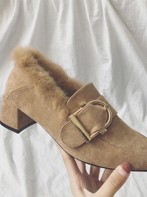 Faux Fur Square Toe Pumps